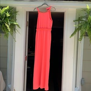 Bright pink/peach maxi dress